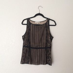 Loft Black and Tan Lace Sleeveless Blouse